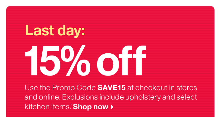 Last day: 15% off