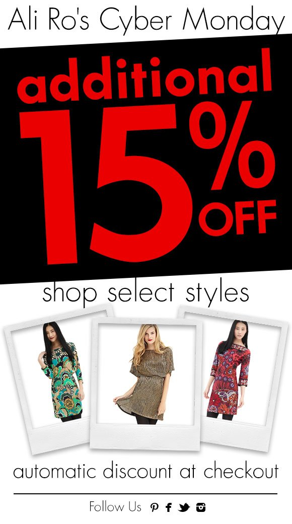 Ali Ro's Cyber Monday Sale - Get an additional 15% off