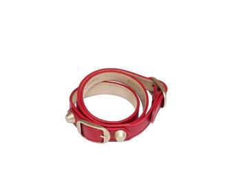 Classic Gold Bracelet Double Tour Red
