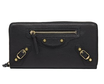 Classic Gold Continental Zip Around Black