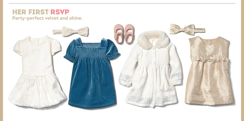 HER First RSVP | Party-perfect velvet and shine.