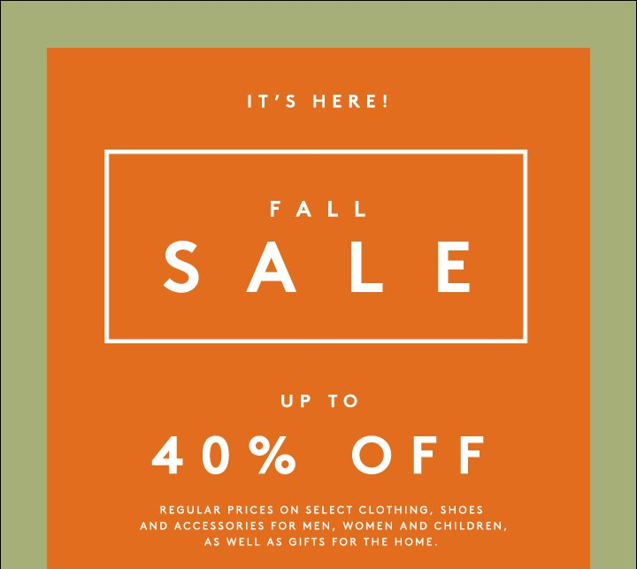 The sale you've been waiting for: Get 40% off hundreds of styles in designer clothing, shoes, accessories and more.