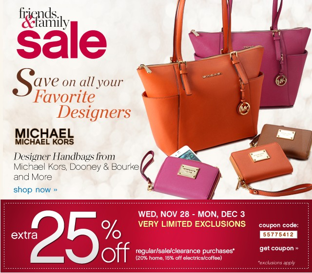 Friends and Family Sale. Save on all your favorite designers. Designer handbags from Michael Kors, Dooney & Bourke, and More. Extra 25% off. Get coupon.