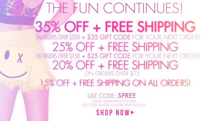 Funday Continues - 35% OFF + FREE SHIP + $35 Gift Code