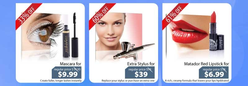 Purchase our Mascara for $9.99, our Stylus for $39 or our Matador Red Lipstick for $6.99.