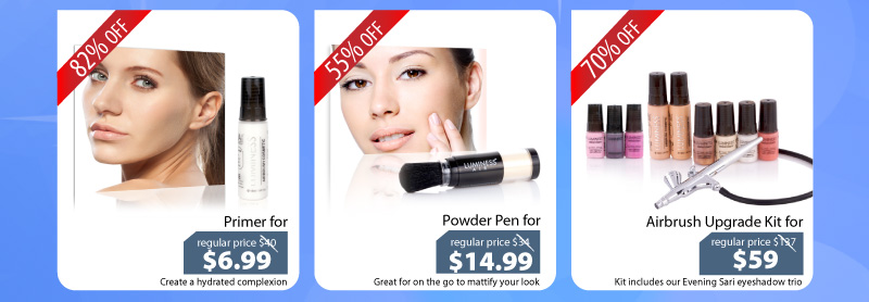 Purchase our Primer for $6.99, or our Powder for $14.99, or our Airbrush Upgrade Kit for $59.
