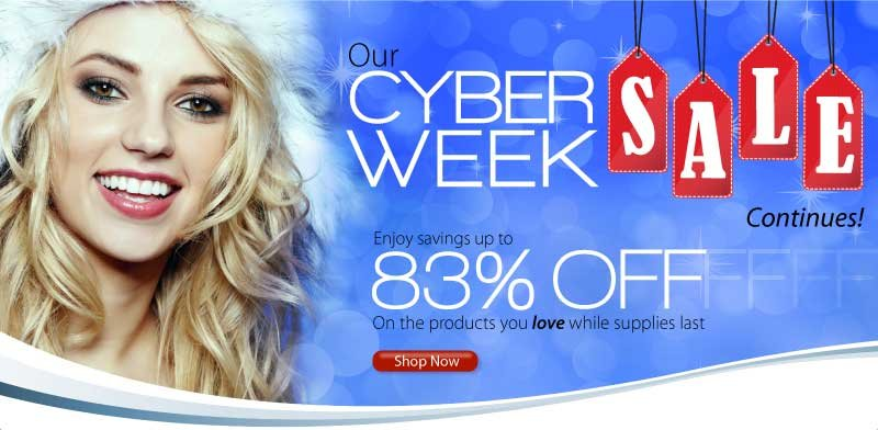 Our Cyber Week Sale continues! Enjoy savings up to 83% off on the products you love while supplies last!