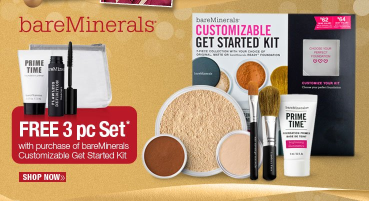 bareMinerals, Free 3 pc Set with purchase of bareMinerals Customizable Get Started Kit. Shop Now.