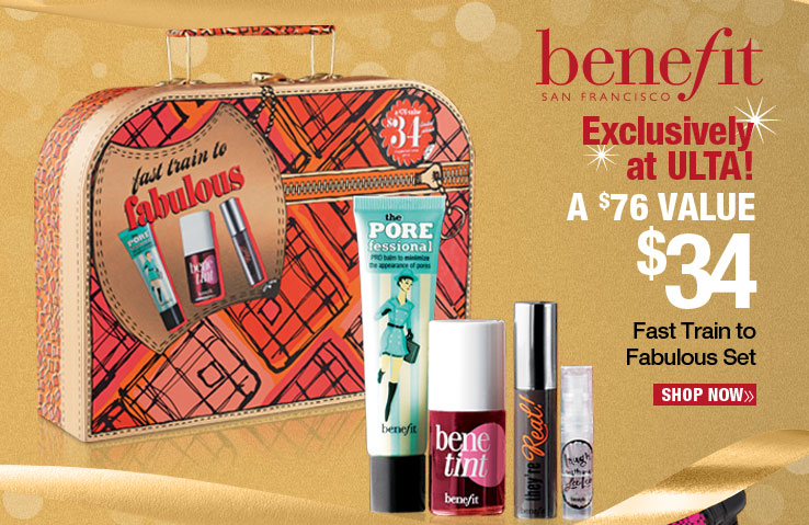 Exclusively at ULTA! Benefit Fast Train to Fabulous Set - $34. A $76 Value. Shop Now.