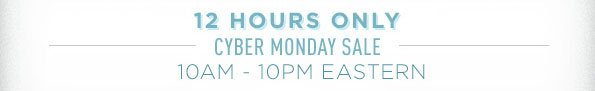 12 HOURS ONLY CYBER MONDAY SALE 10AM - 10PM EASTERN