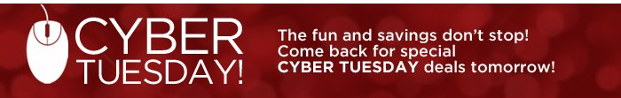 Cyber Tuesday deals tomorrow!