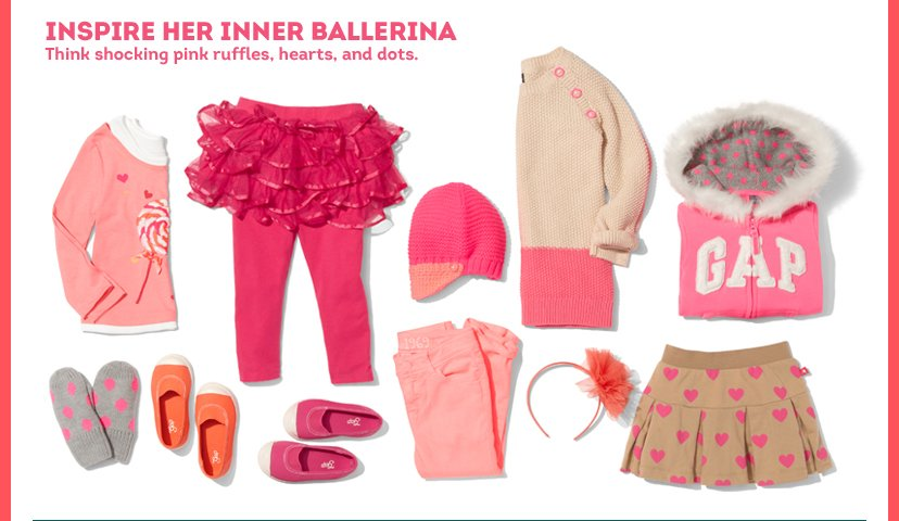 Inspire her Inner Ballerina | Think shocking pink ruffles, hearts, and dots.