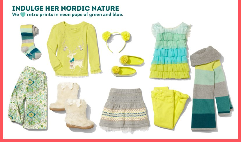 Indulge her Nordic Nature | We love retro prints in neon pops of green and blue.