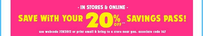 20% Off Savings Pass