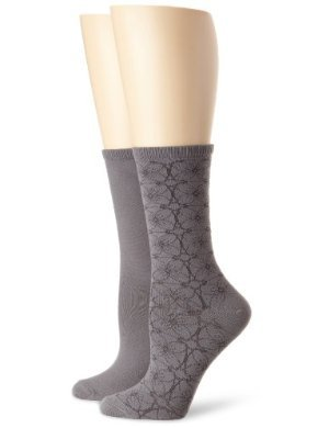 Jones New York <br/> Vintage Wallpaper and Solid Flat-Knit Crew Sock Two-Pair Pack