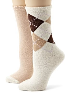 Anne Klein <br/> Argyle and Tipped Cashmere Blend Sock Two-Pack Gift Set