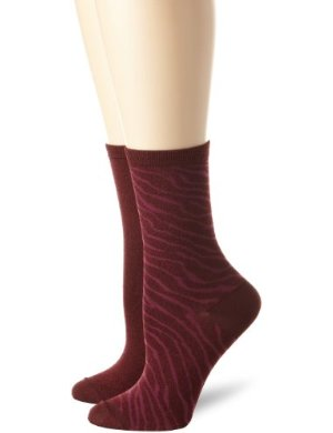 Ellen Tracy <br/> Zebra Print and Solid Crew Sock Two-Pair Pack