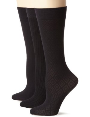 Nine West <br/> Argyle Solid and Cable Trouser Sock Three-Pair Pack