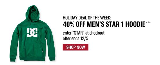 Holiday Deal of the Week: 40% Off Men's Star 1 Hoodie*** Enter STAR at checkout. Offer ends 12/5. Shop Now.