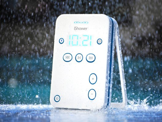 The iShower jams out favorite tunes from iheartradio, itunes, pandora and spotify from my smartphone and iPad.