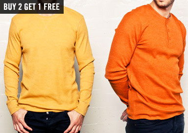 Shop Thermals & Henleys: Buy 2 Get 1 Free