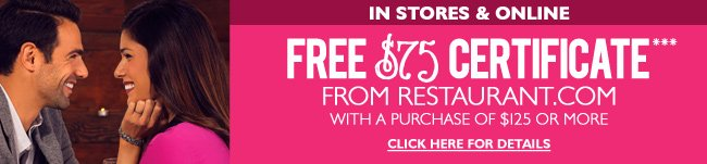 Restaurant.com $75 Certificate with $125 Purchase - In Stores and Online