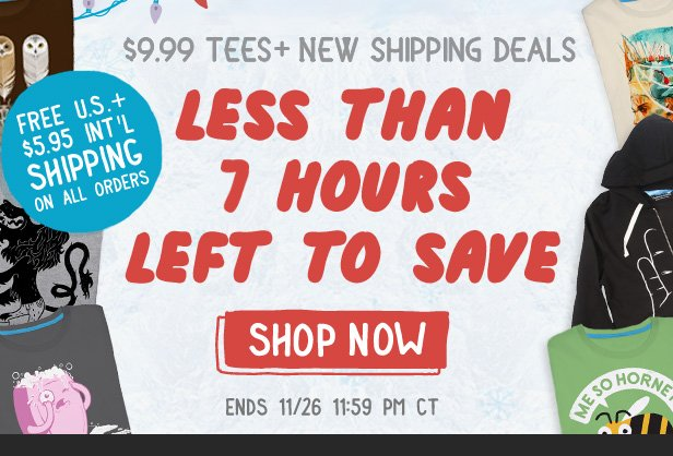 Less than 7 hours left to save + Free U.S. or $5.95 Int'l Shipping on all orders. Shop now