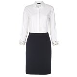 Paul Smith Dresses - White Shirt Dress With Navy Skirt
