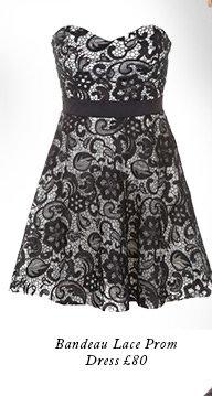 Bandeau lace prom dress