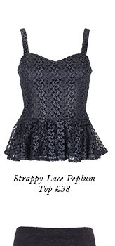 Strappy lace peplum top