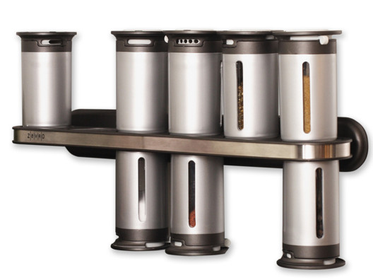 Space-saving goes space-age with this high design spice rack!