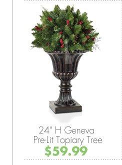 "24"" H Geneva Pre-Lit Topiary Tree $59.99"