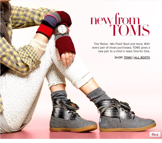 new from TOMS - The 'Botas - Mix Plaid' Boots and more. With every pair of shoes purchased, TOMS gives a new pair to a child in need. One for One.