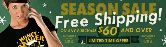 Season Sale Free Shipping on US Orders over $60