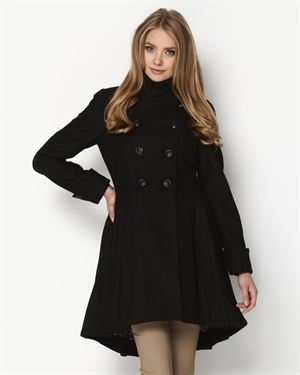 Betsey Johnson Double Breasted Flared Wool Coat