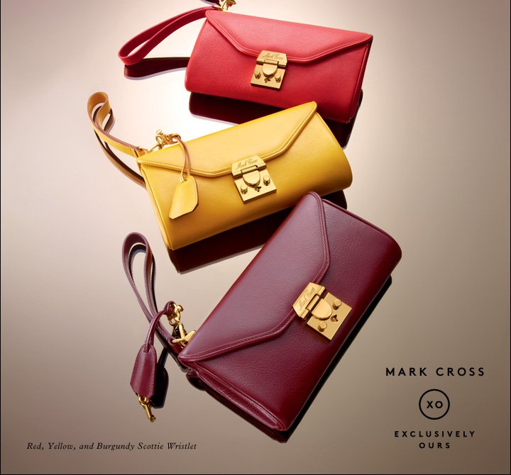 Classic bags in Pop art hues: Shop Mark Cross.