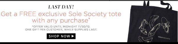 Get a free exclusive Sole Society tote with any purchase!