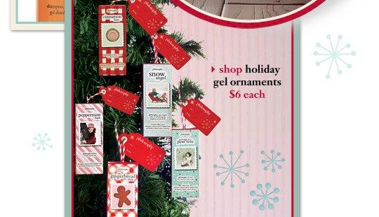 shop holiday gel ornaments $6 each