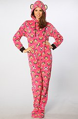 The Polar Fleece Pant Jumpsuit in Fuchsia Skull