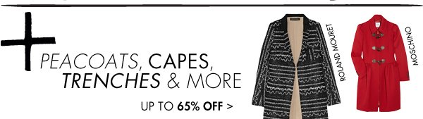 Peacoats, capes, trenches and more up to 65% off