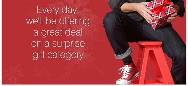 Every day, we'll be offering a great deal on a surprise gift category.