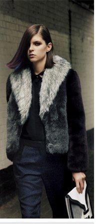 Colour Block Faux Fur Coat