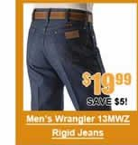 Men's Wrangler 13MWZ Original Fit Rigid Jeans