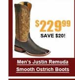 Men's Justin Remuda Smooth Ostrich Boots