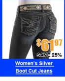 Silver Classic Fit Boot Cut Jeans