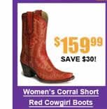 Women's Corral Short Red Cowgirl Boots