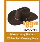 Men's Larry Mahan 5X Cowboy Hats