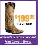 Women's Nocona Leopard Print Cowboy Boots