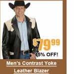 Men's Contrast Yoke Leather Blazer