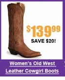 Women's Old West Distressed Leather Boots